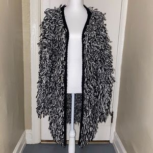 Nasty Gal shaggy black and white sweater cardigan